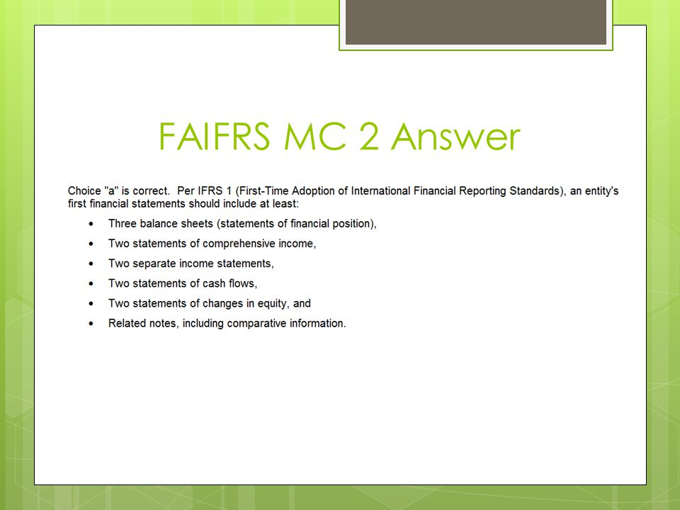 FAIFRS MC 2 Answer