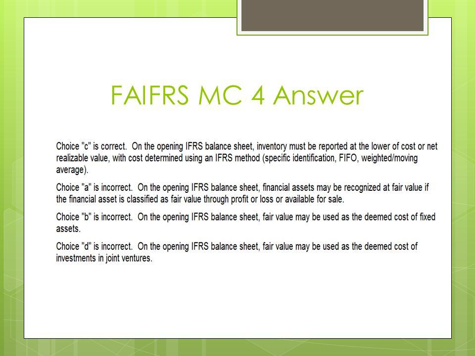 FAIFRS MC 4 Answer