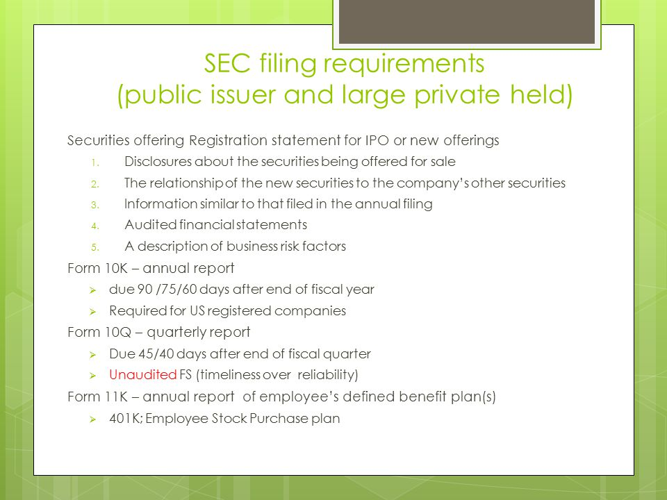 SEC filing requirements (public issuer and large private held)