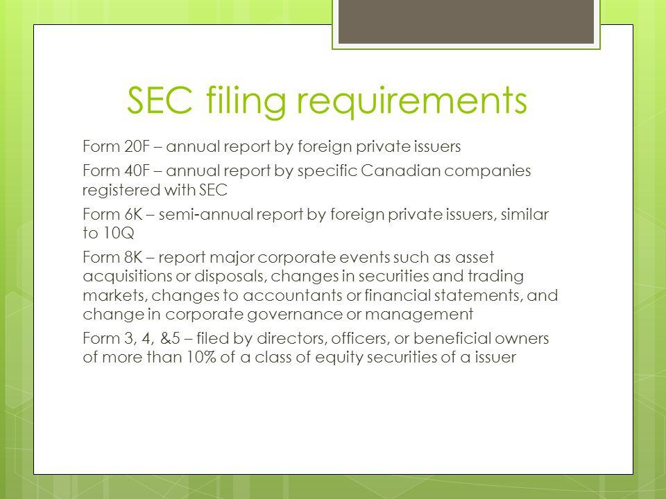 SEC filing requirements