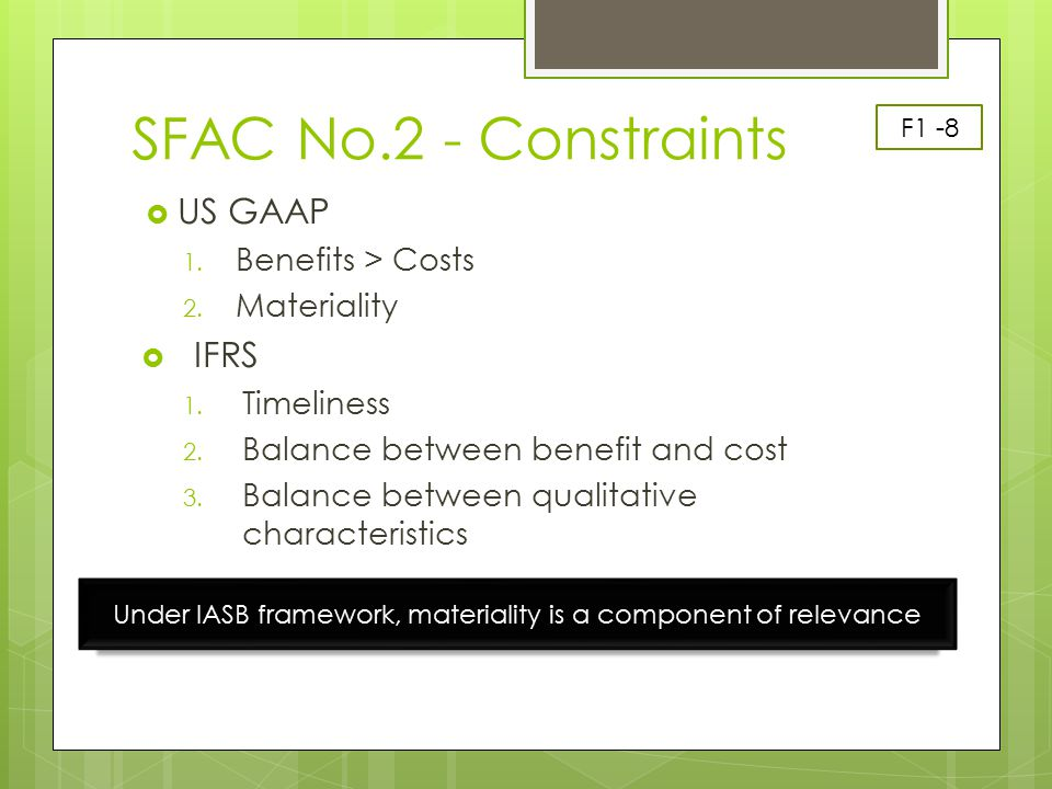 Under IASB framework, materiality is a component of relevance