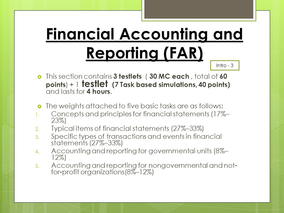 Financial Accounting and Reporting (FAR)