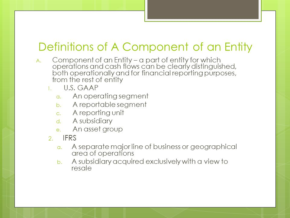Definitions of A Component of an Entity