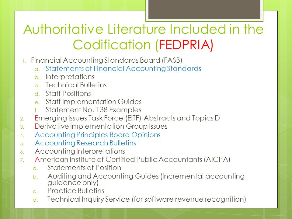 Authoritative Literature Included in the Codification (FEDPRIA)