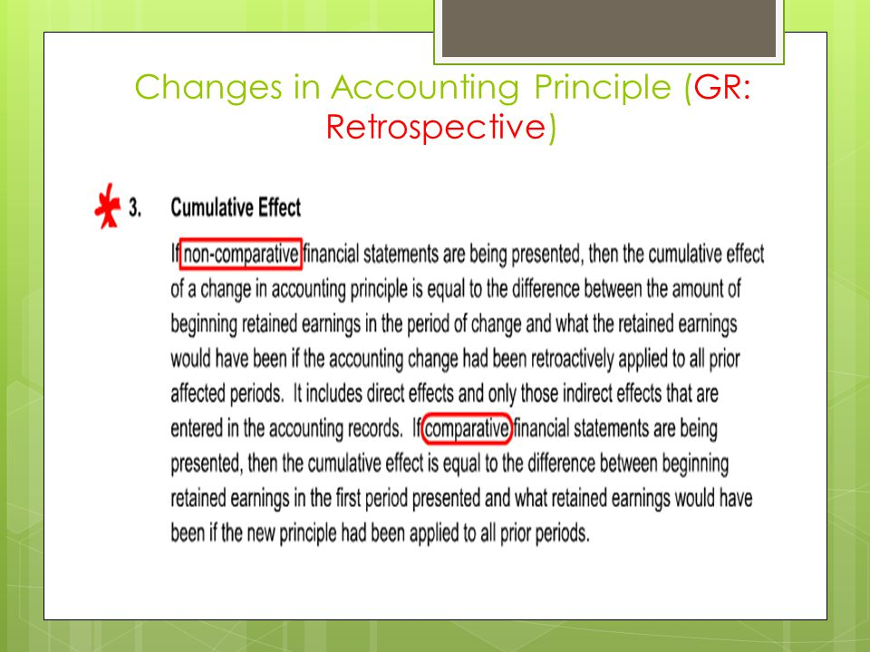 Changes in Accounting Principle (GR: Retrospective)