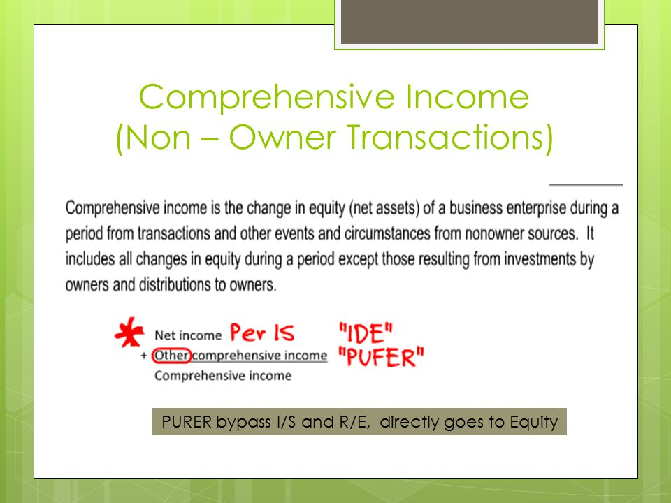Comprehensive Income (Non – Owner Transactions)