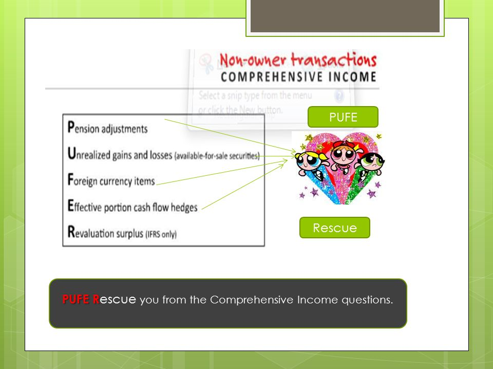 PUFE Rescue you from the Comprehensive Income questions.