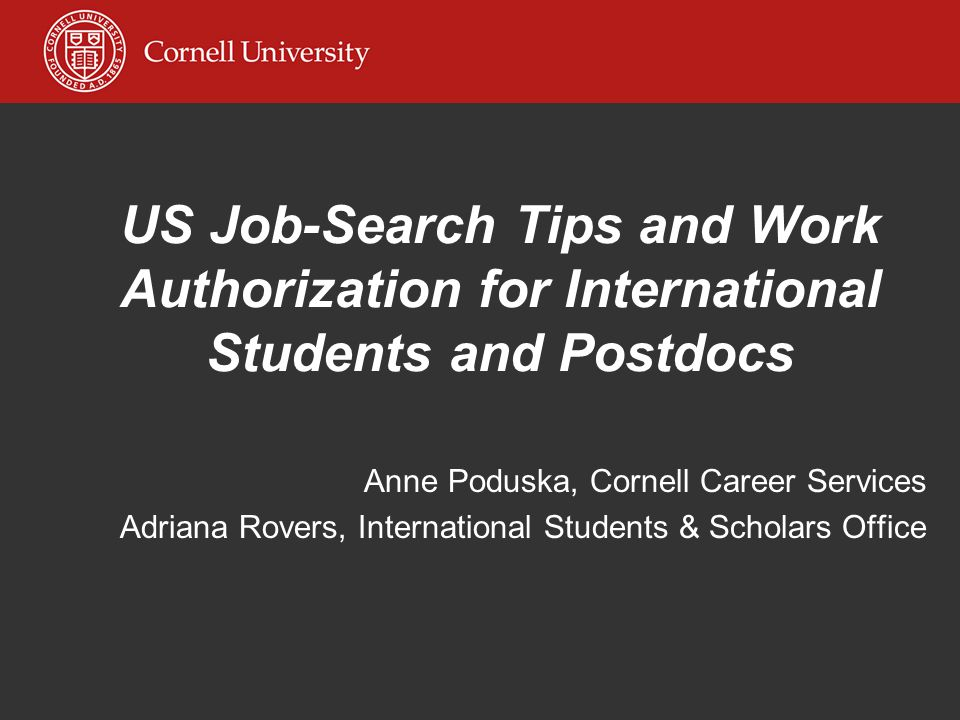 US Job-Search Tips and Work Authorization for International Students and Postdocs