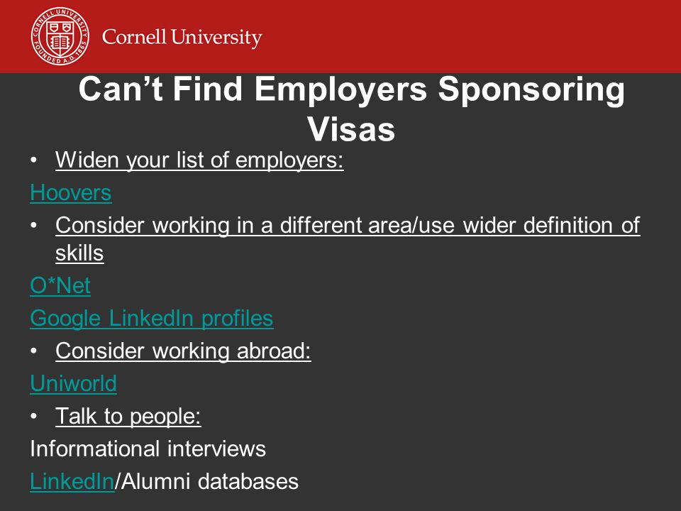 Can't Find Employers Sponsoring Visas