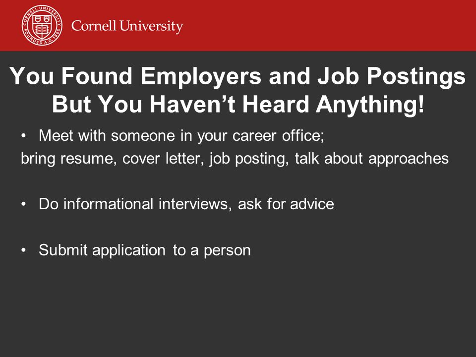 You Found Employers and Job Postings But You Haven't Heard Anything!