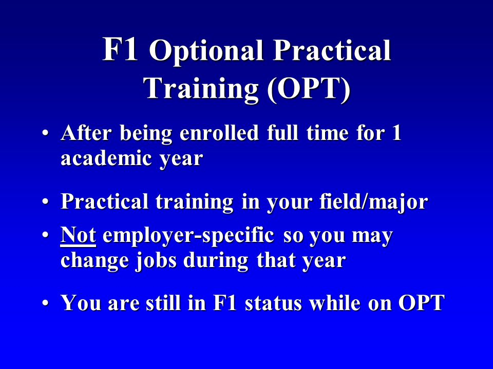 F1 Optional Practical Training (OPT)