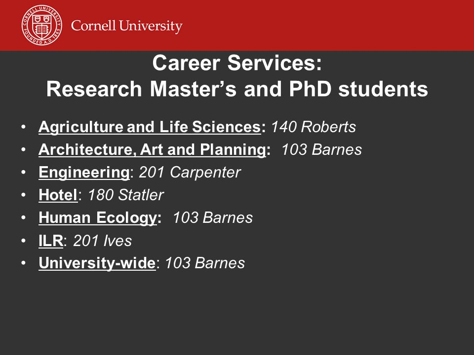 Career Services: Research Master's and PhD students