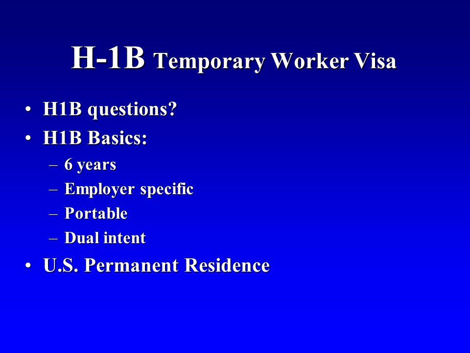 H-1B Temporary Worker Visa