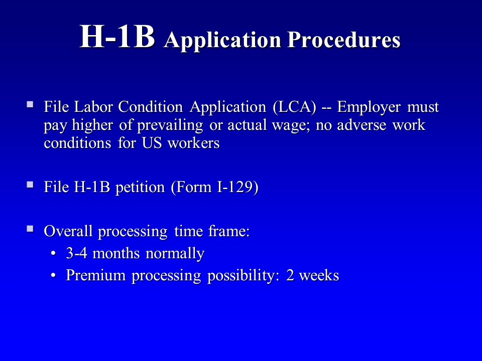 H-1B Application Procedures
