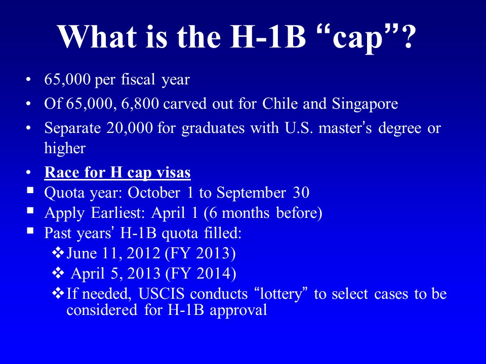 What is the H-1B cap 65,000 per fiscal year