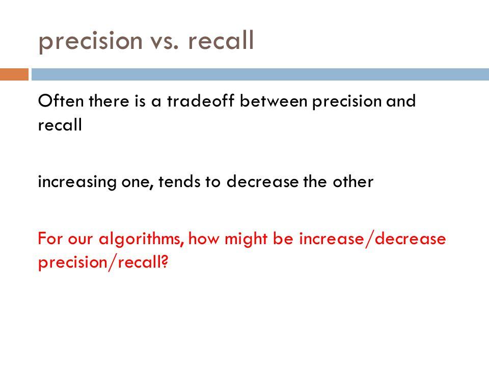 precision vs. recall