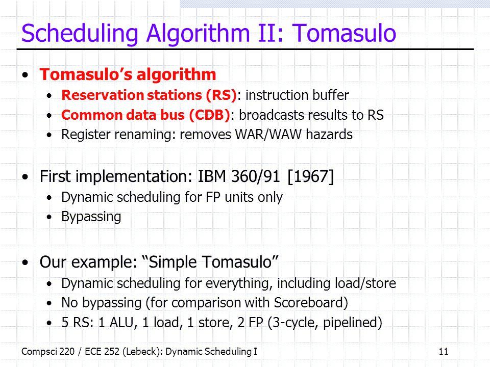 Scheduling Algorithm II: Tomasulo