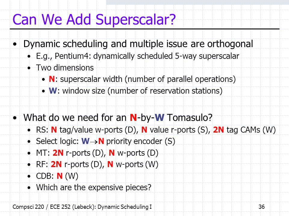 Can We Add Superscalar Dynamic scheduling and multiple issue are orthogonal. E.g., Pentium4: dynamically scheduled 5-way superscalar.