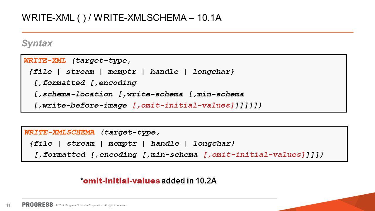 WRITE-XML ( ) / WRITE-XMLSCHEMA – 10.1A