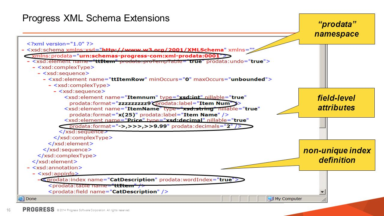 Progress XML Schema Extensions