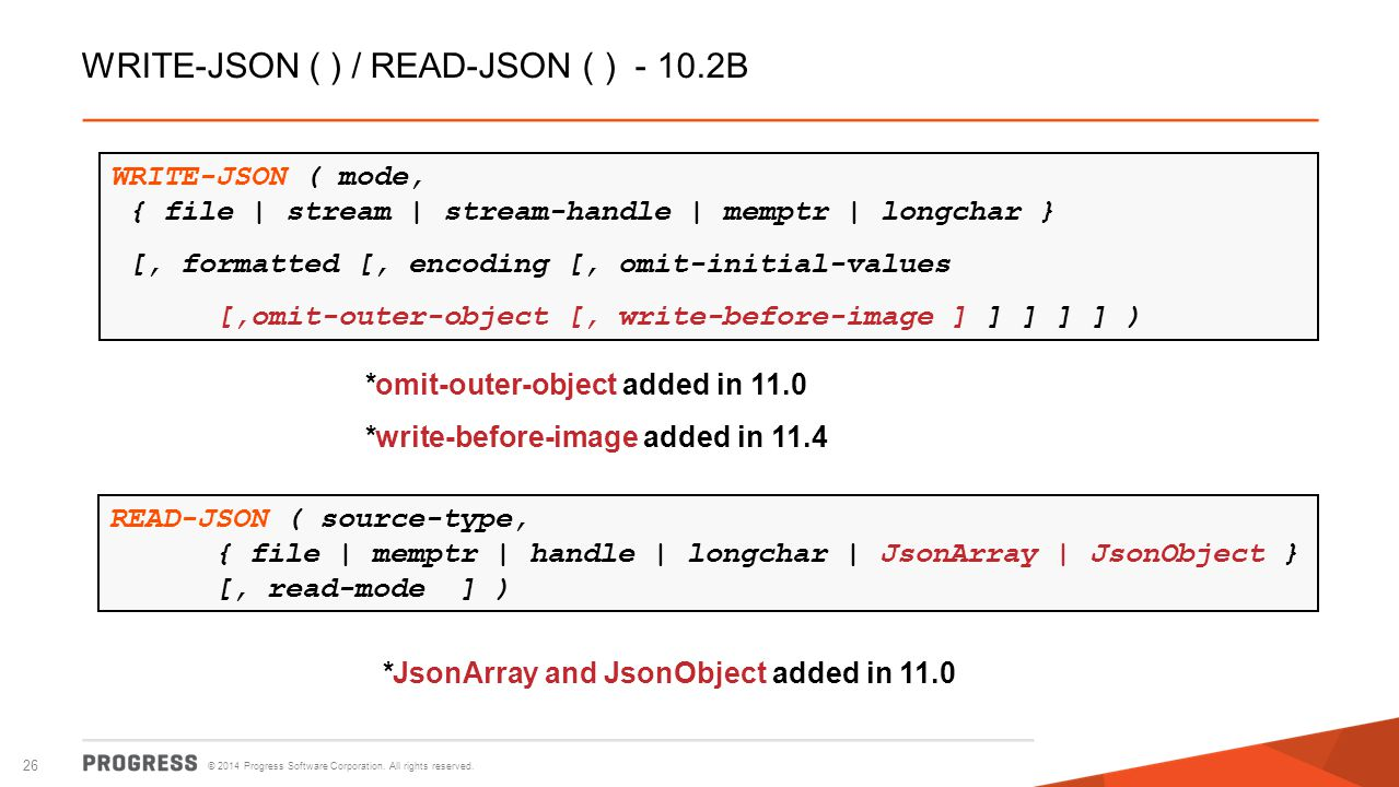 WRITE-JSON ( ) / READ-JSON ( ) - 10.2B