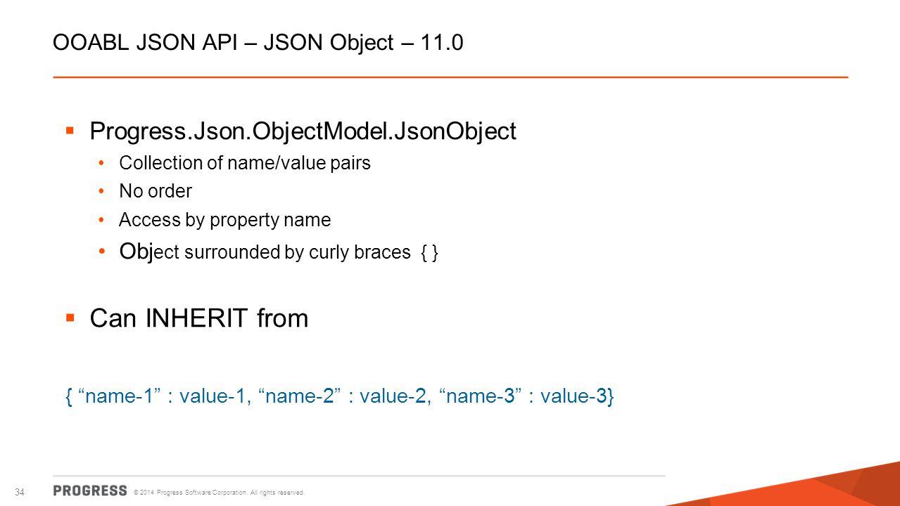 OOABL JSON API – JSON Object – 11.0