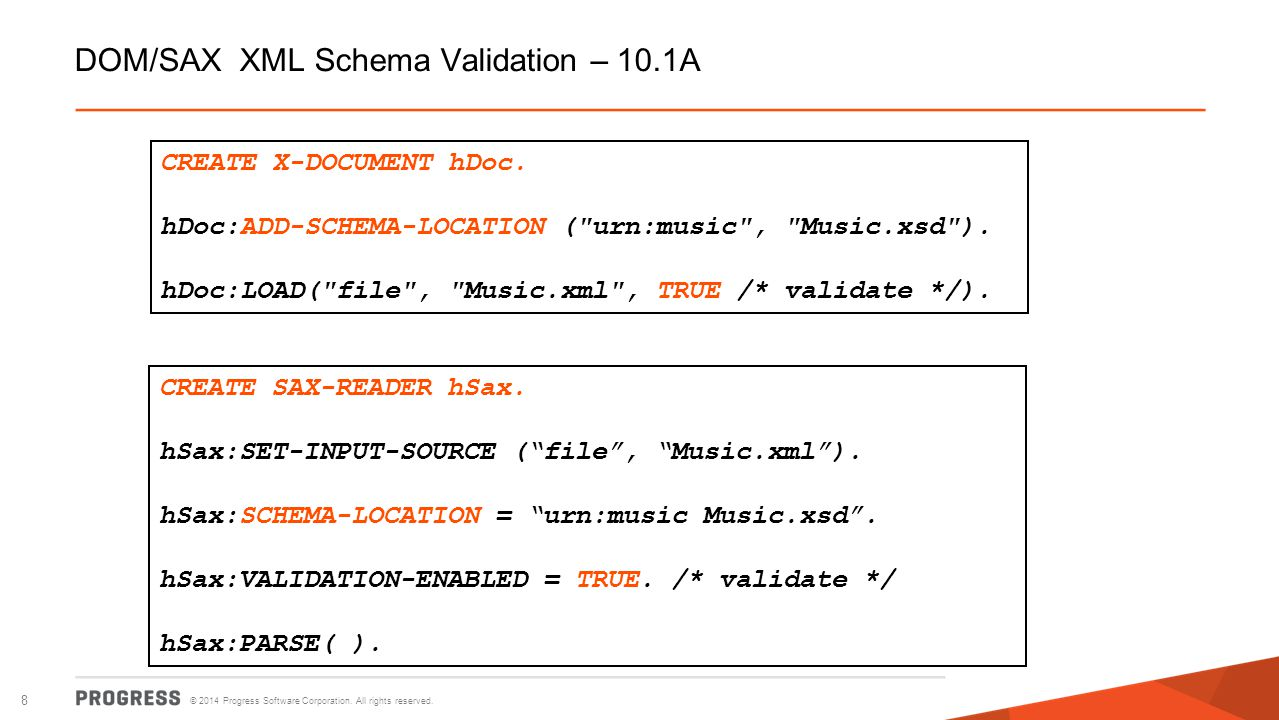 DOM/SAX XML Schema Validation – 10.1A