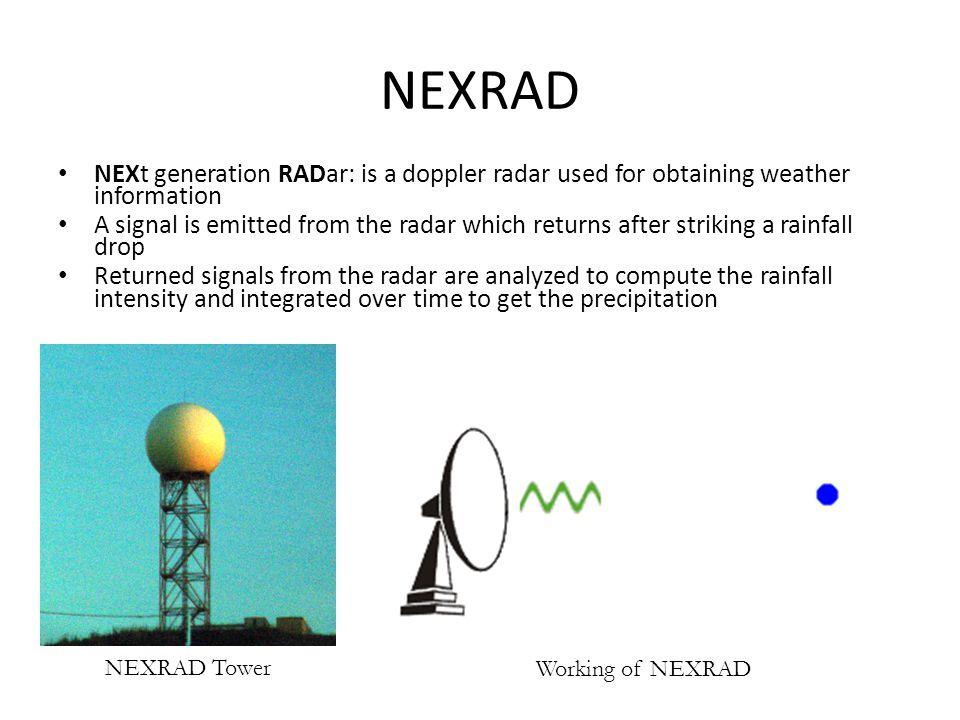 NEXRAD NEXt generation RADar: is a doppler radar used for obtaining weather information.