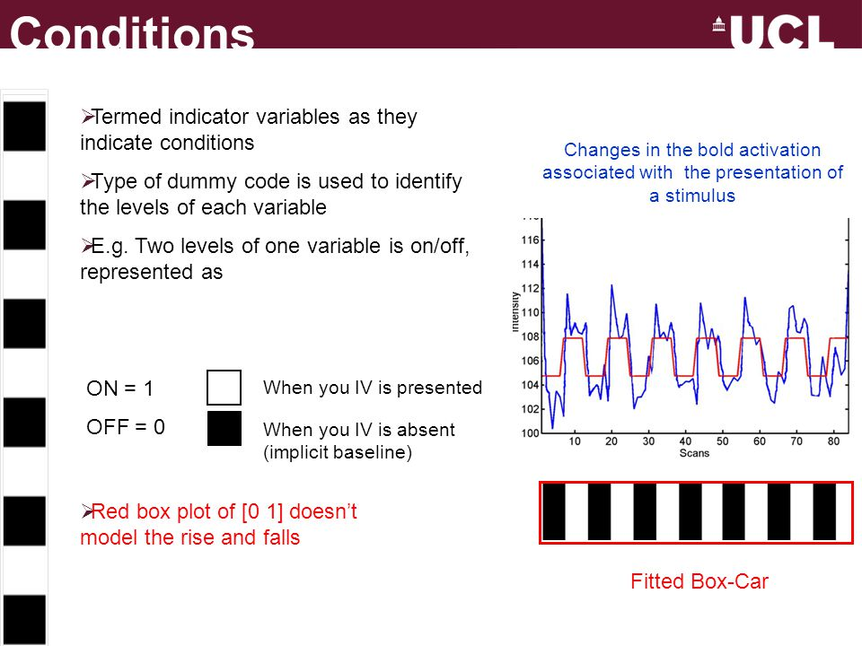 Conditions Termed indicator variables as they indicate conditions