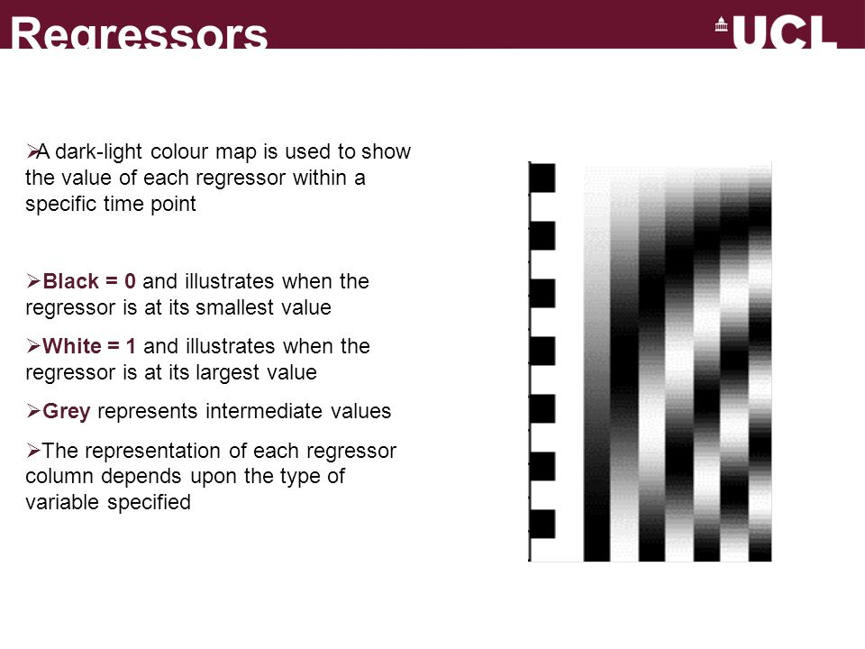 Regressors A dark-light colour map is used to show the value of each regressor within a specific time point.