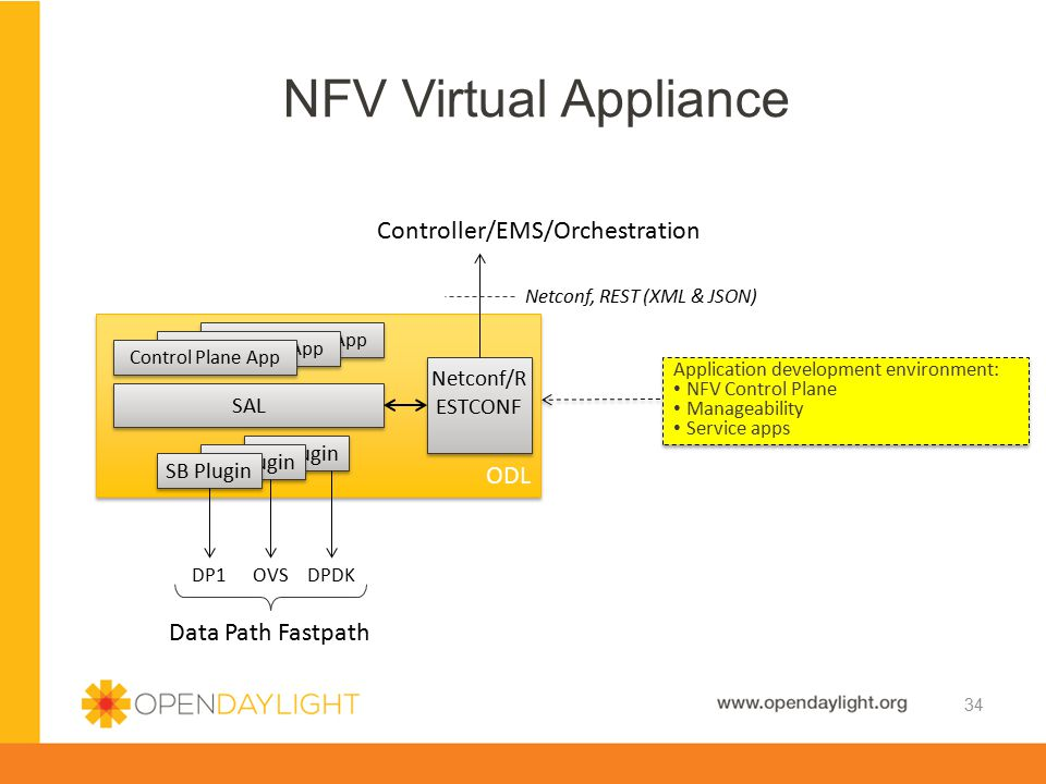 NFV Virtual Appliance Controller/EMS/Orchestration ODL