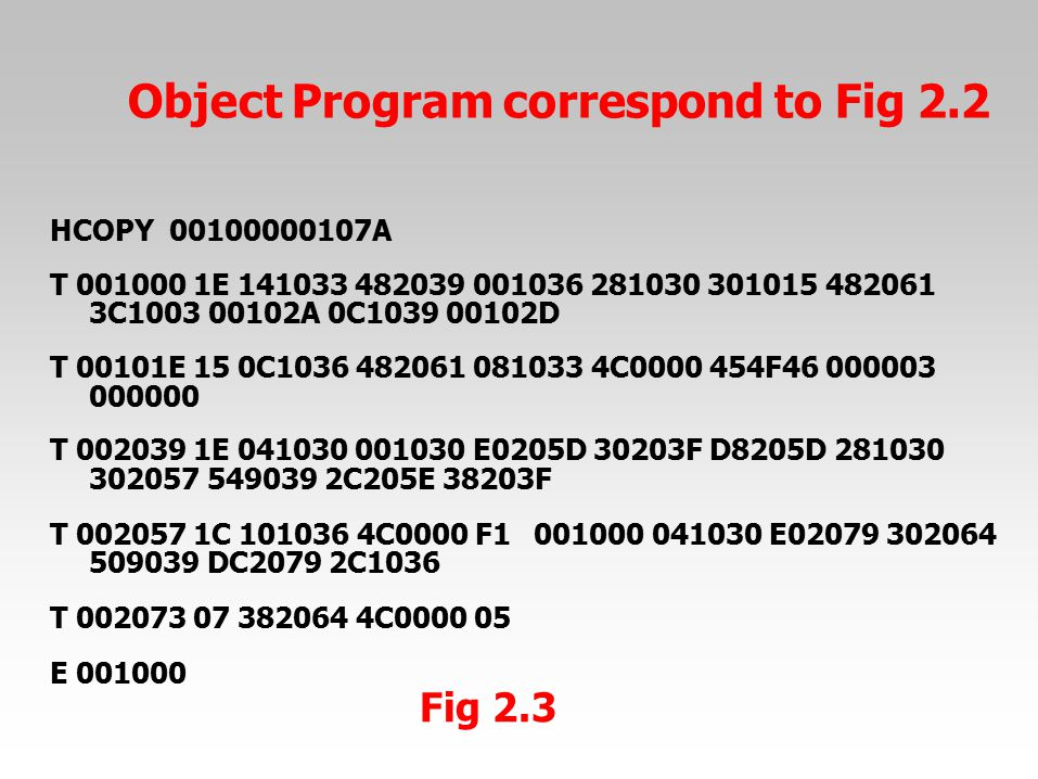 Object Program correspond to Fig 2.2