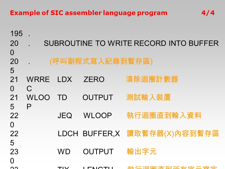 SUBROUTINE TO WRITE RECORD INTO BUFFER 205 (呼叫副程式寫入紀錄到暫存區) 210 WRREC