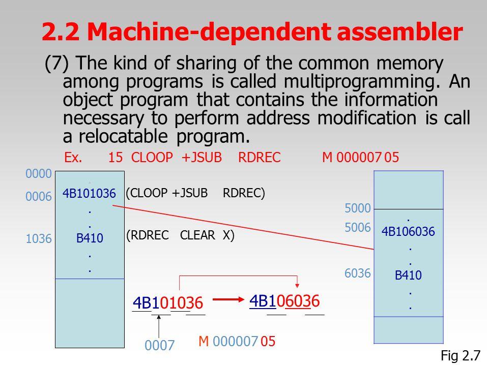 2.2 Machine-dependent assembler