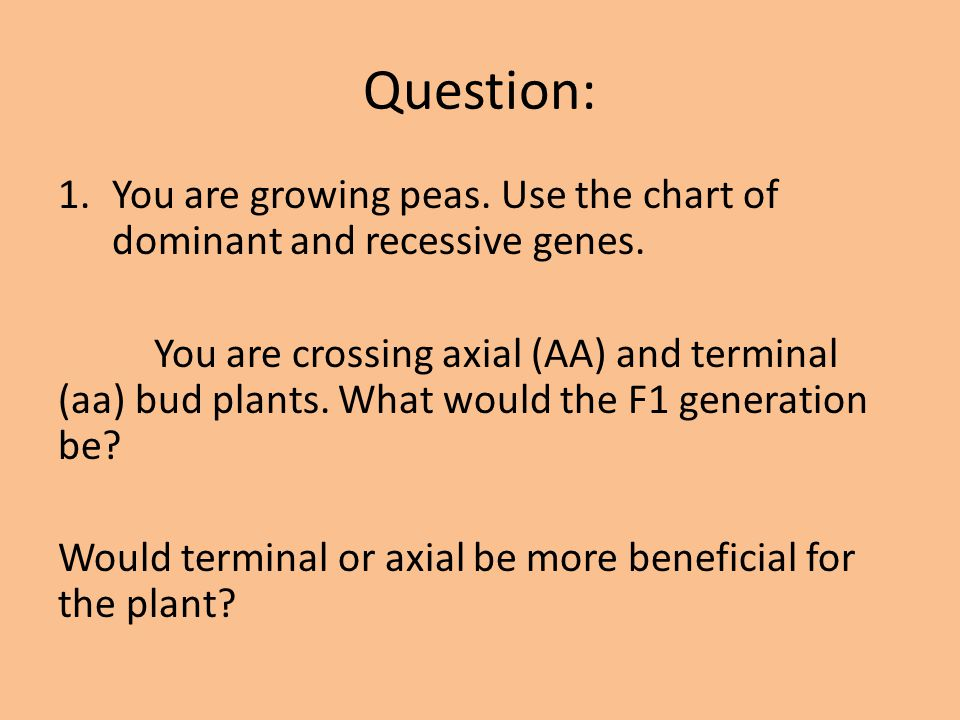 Question: You are growing peas. Use the chart of dominant and recessive genes.
