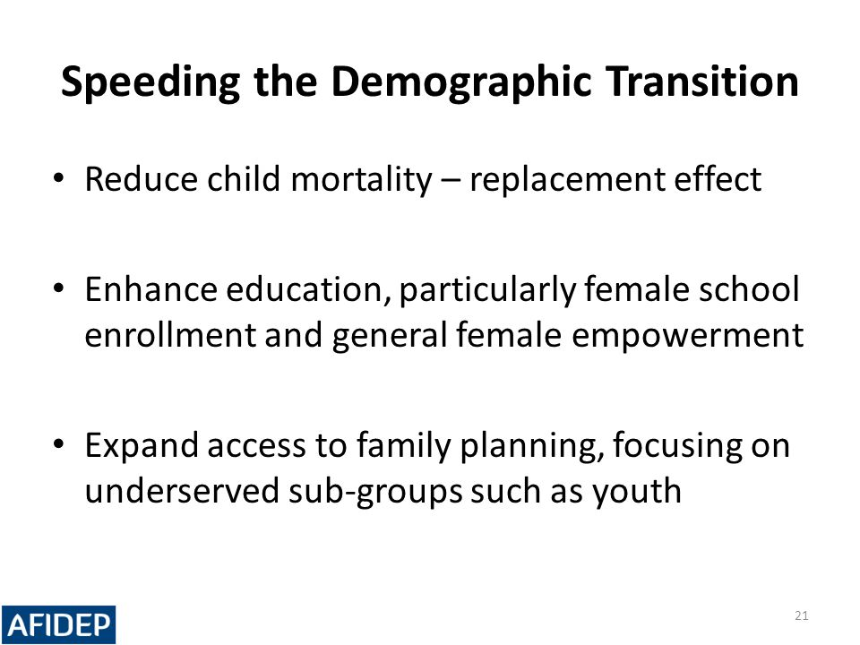 Speeding the Demographic Transition