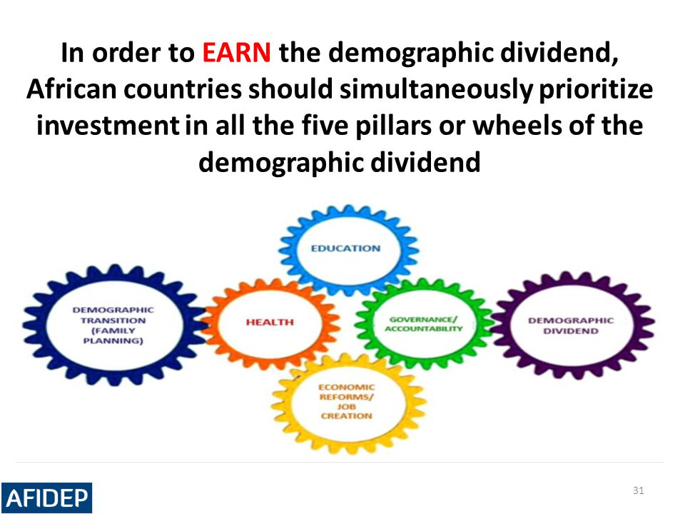 In order to EARN the demographic dividend, African countries should simultaneously prioritize investment in all the five pillars or wheels of the demographic dividend