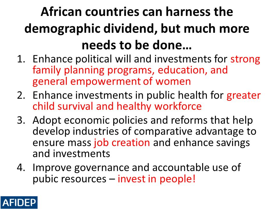 African countries can harness the demographic dividend, but much more needs to be done…