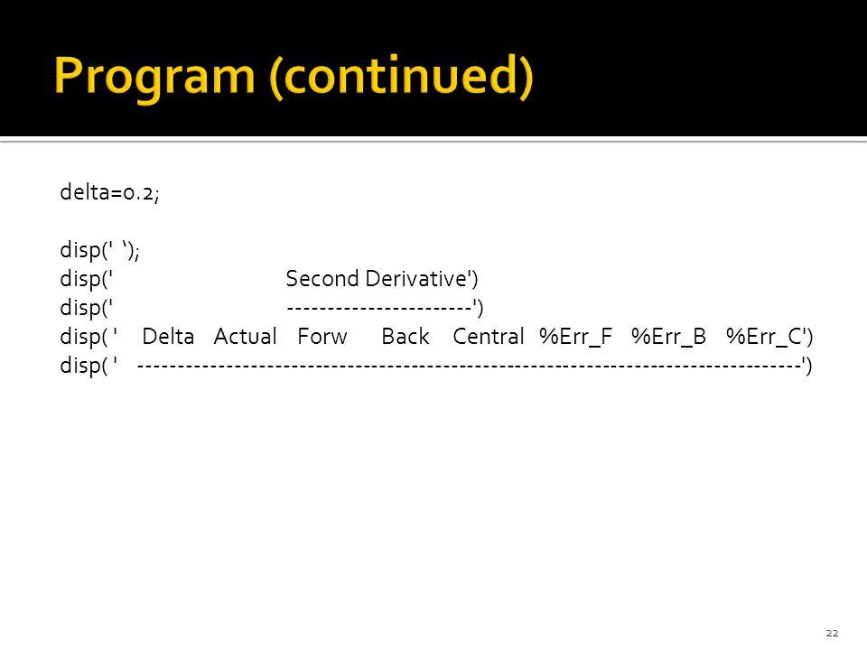 Program (continued) delta=0.2; disp( '); disp( Second Derivative )