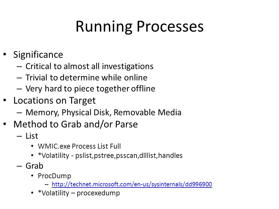 Running Processes Significance Locations on Target