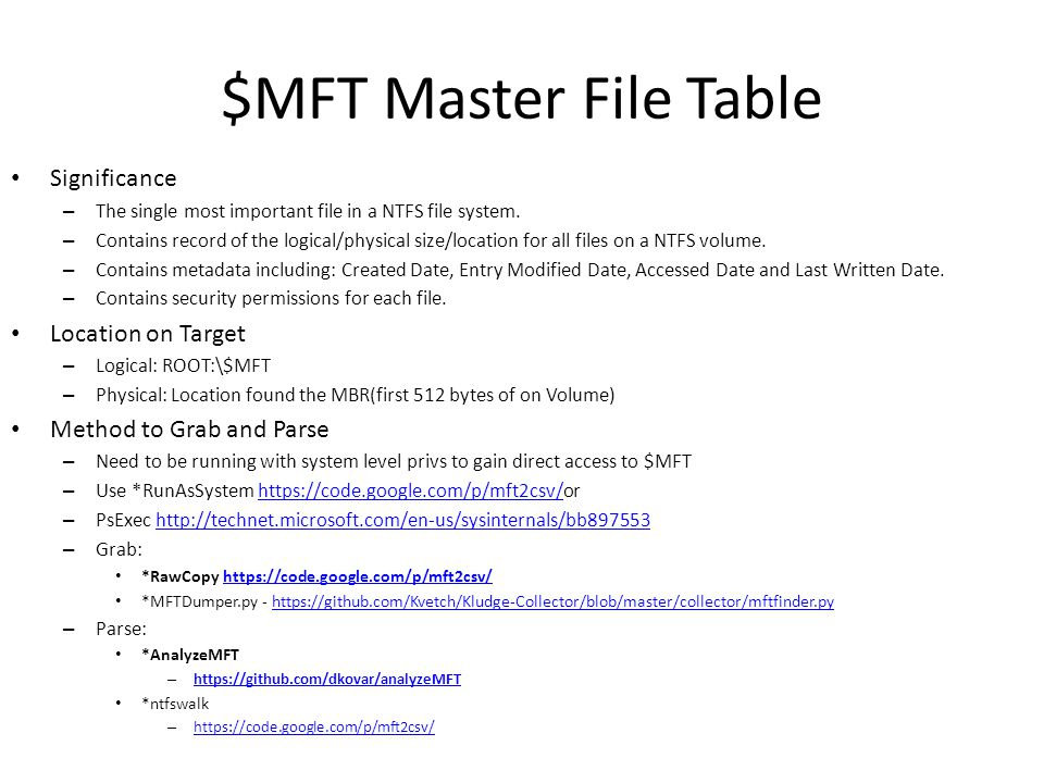 $MFT Master File Table Significance Location on Target
