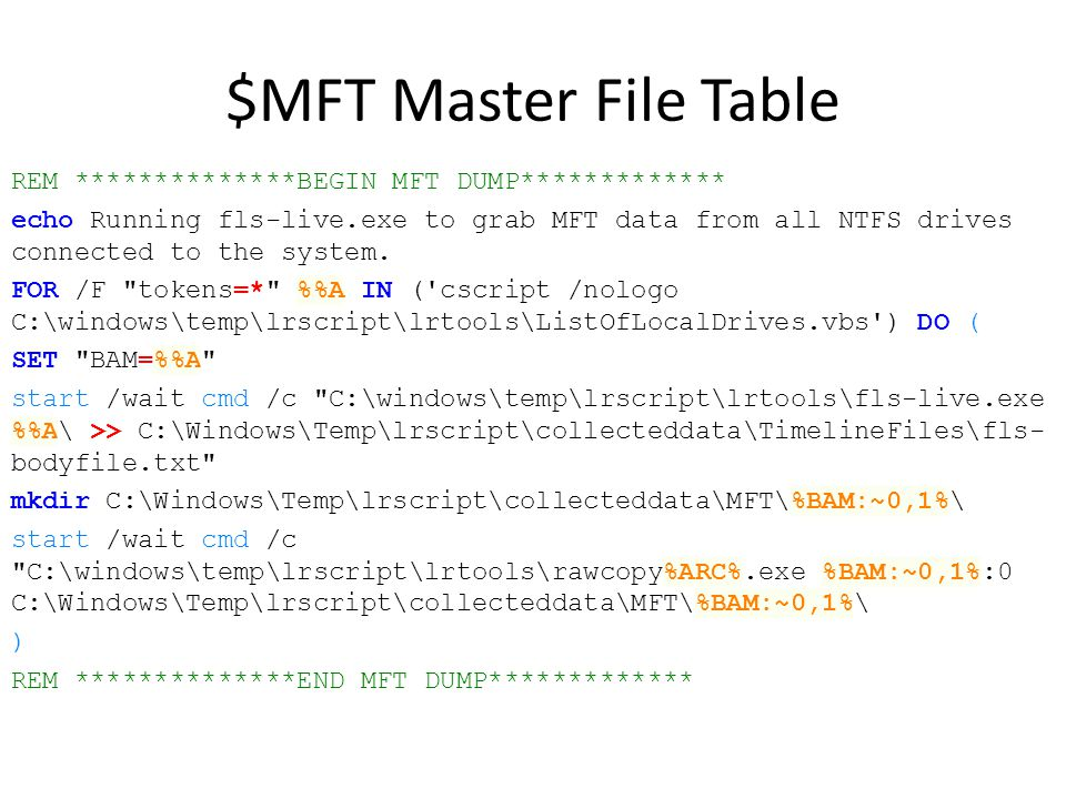 $MFT Master File Table