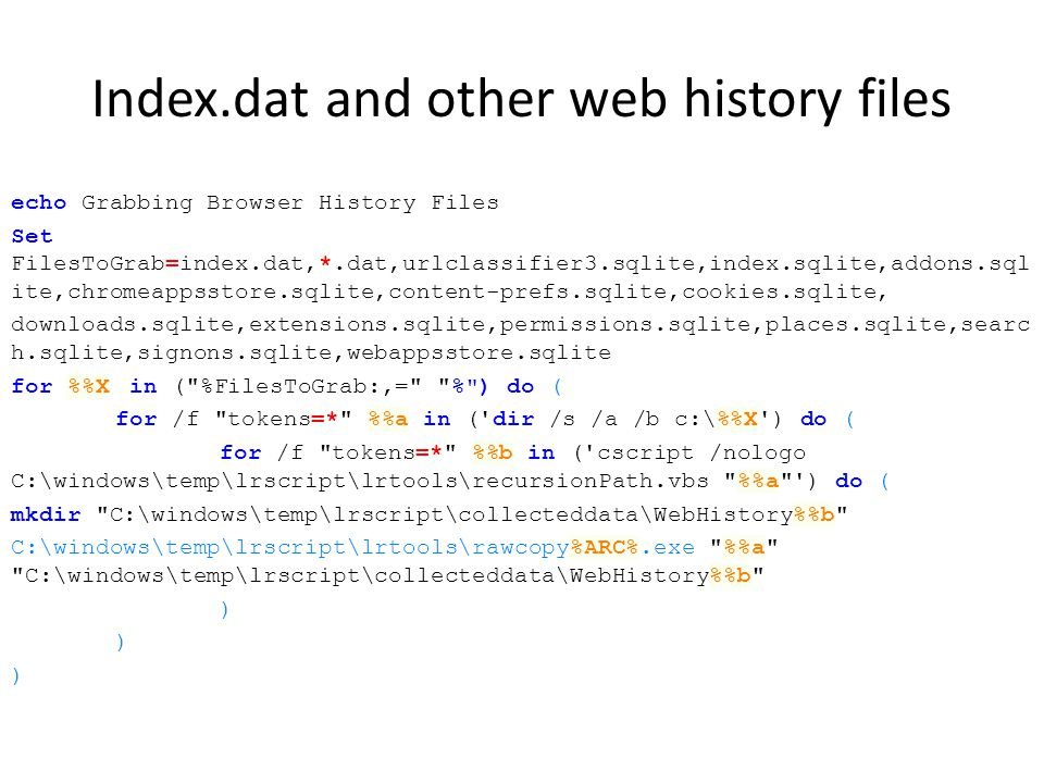 Index.dat and other web history files