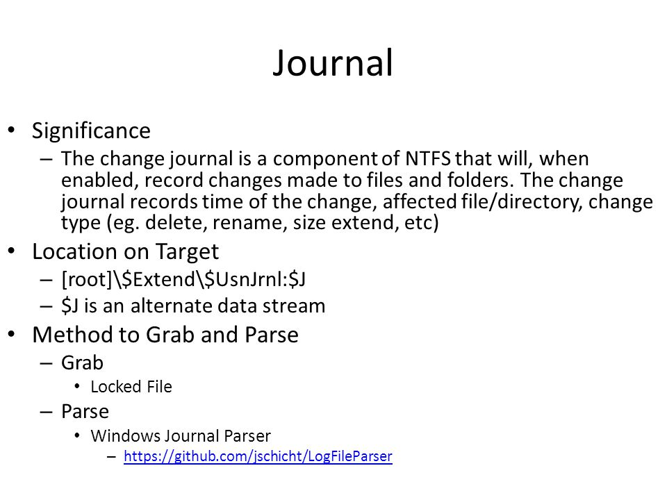 Journal Significance Location on Target Method to Grab and Parse
