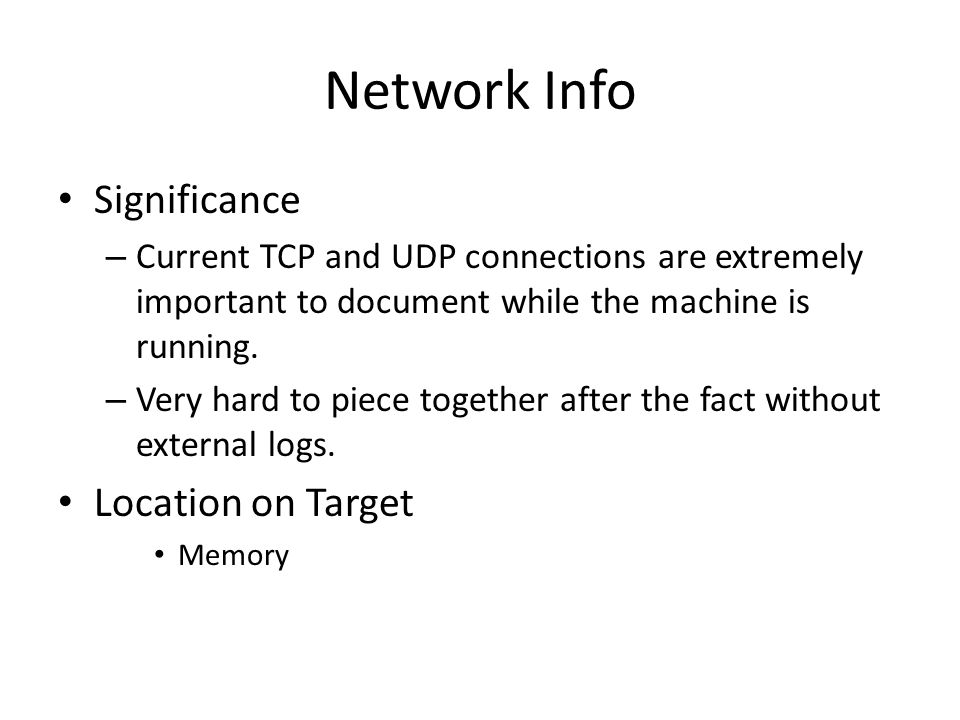 Network Info Significance Location on Target