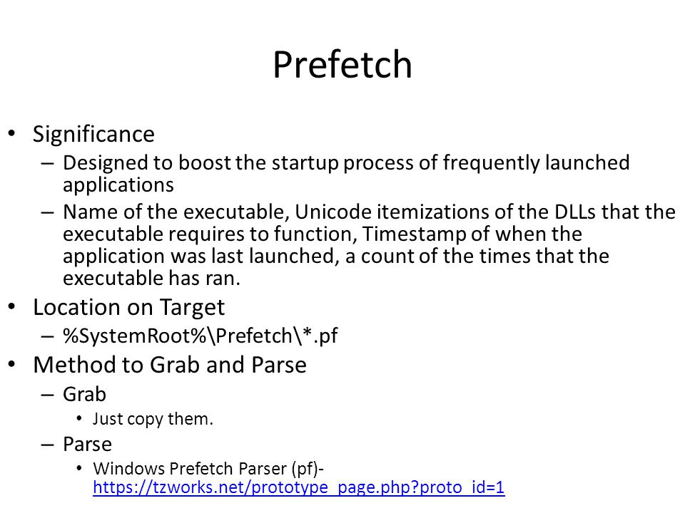 Prefetch Significance Location on Target Method to Grab and Parse