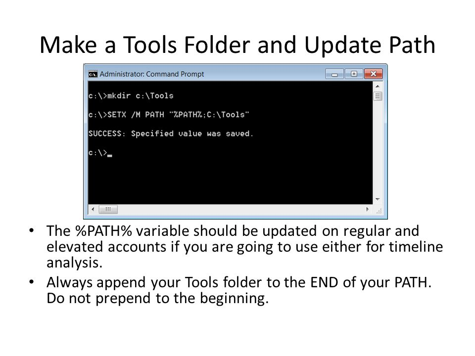 Make a Tools Folder and Update Path