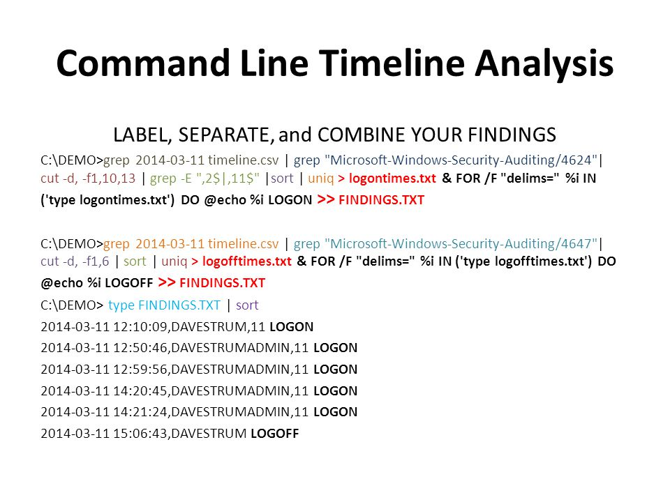 Command Line Timeline Analysis