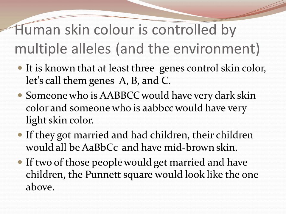Human skin colour is controlled by multiple alleles (and the environment)