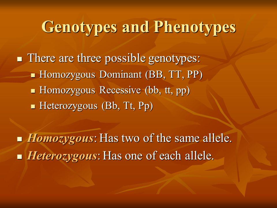 Genotypes and Phenotypes